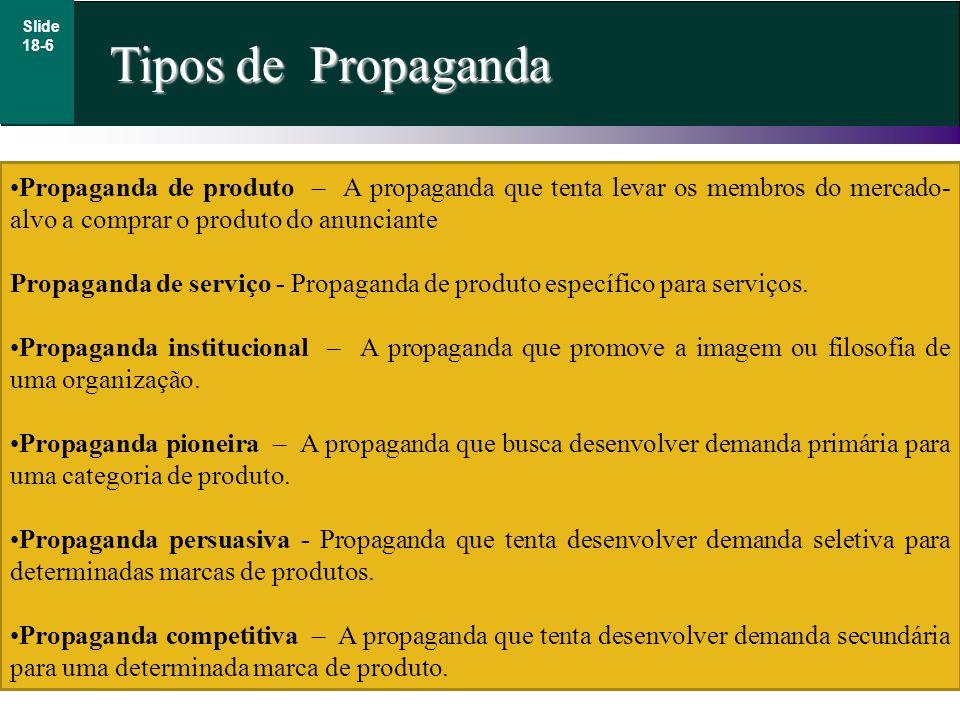 Tipos de Propaganda Slide 18-6 Propaganda de produto – A propaganda que tenta levar os membros do mercado- alvo a comprar o produto do anunciante Propaganda de serviço - Propaganda de produto específico para serviços.