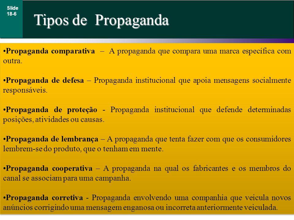 Tipos de Propaganda Slide 18-6 Propaganda comparativa – A propaganda que compara uma marca específica com outra. Propaganda de defesa – Propaganda ins