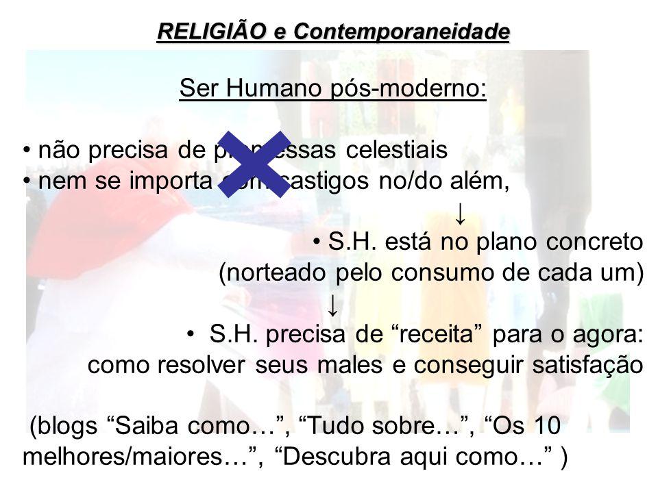 RELIGIÃO e Contemporaneidade Ser Humano pós-moderno: não precisa de promessas celestiais nem se importa com castigos no/do além, S.H. está no plano co