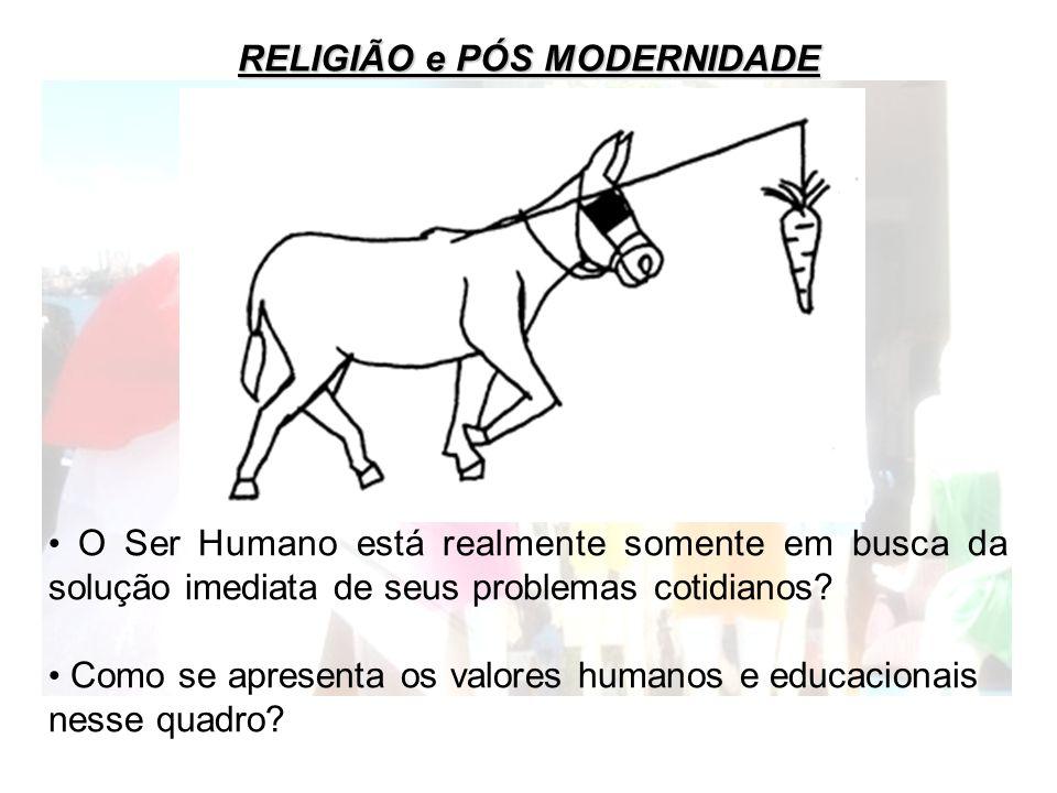 RELIGIÃO e PÓS MODERNIDADE O Ser Humano está realmente somente em busca da solução imediata de seus problemas cotidianos? Como se apresenta os valores