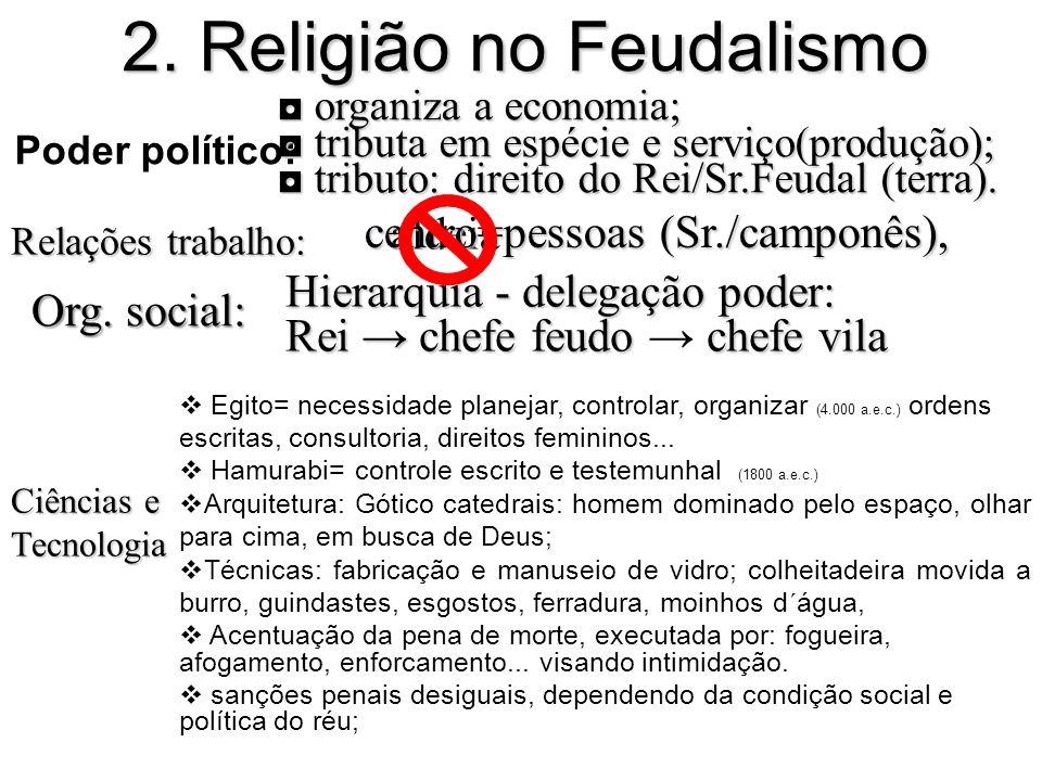 Poder político: 2. Religião no Feudalismo Relações trabalho: organiza a economia; organiza a economia; tributa em espécie e serviço(produção); tributa