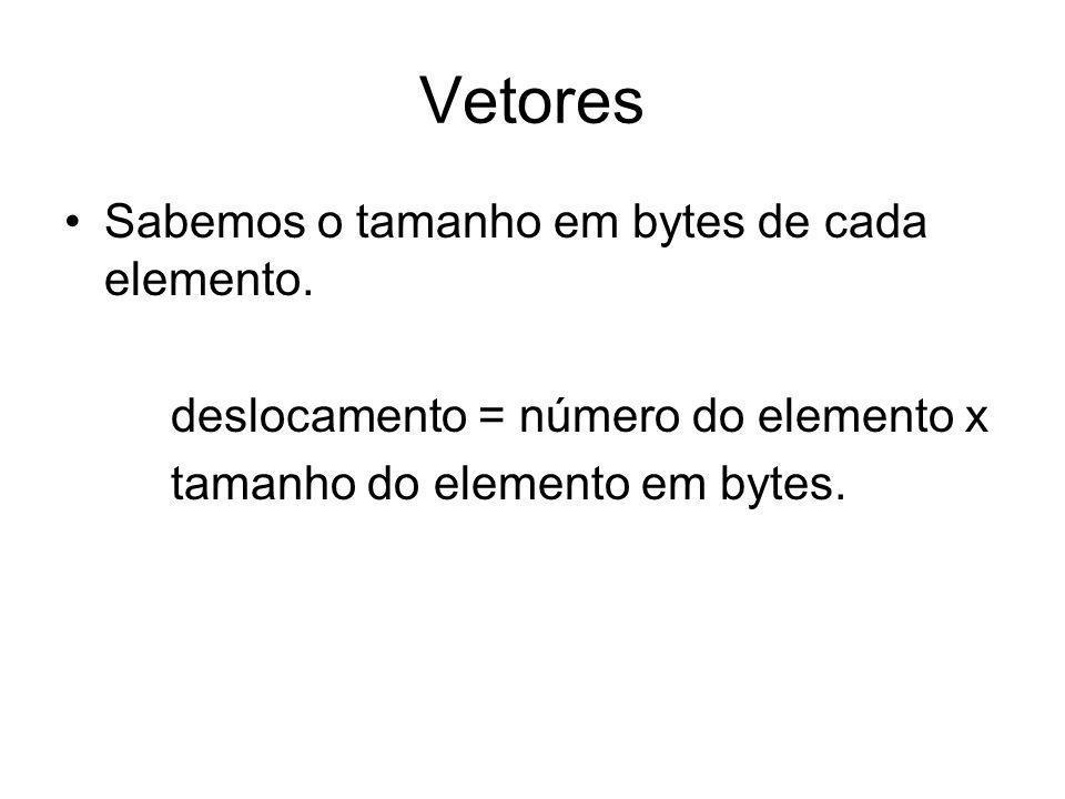 Vetores Sabemos o tamanho em bytes de cada elemento. deslocamento = número do elemento x tamanho do elemento em bytes.