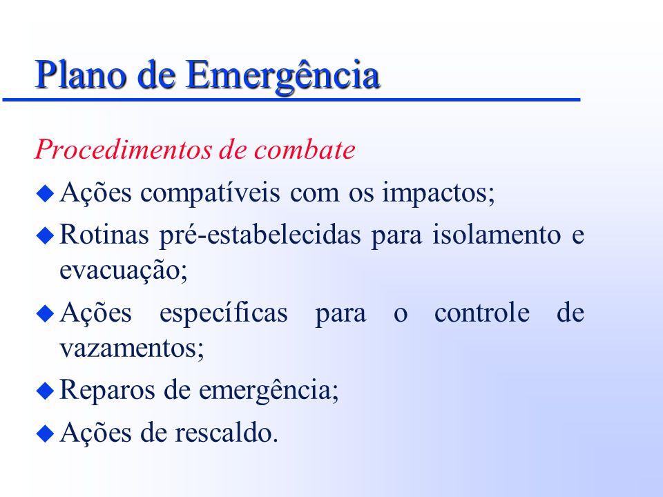 Plano de Emergência Procedimentos de combate u Ações compatíveis com os impactos; u Rotinas pré-estabelecidas para isolamento e evacuação; u Ações esp