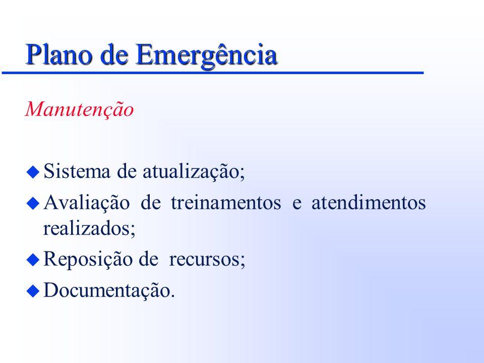 Plano de Emergência Manutenção u Sistema de atualização; u Avaliação de treinamentos e atendimentos realizados; u Reposição de recursos; u Documentaçã