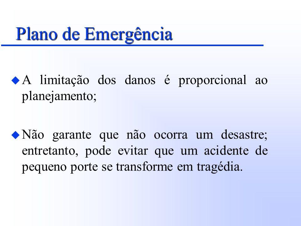 Plano de Emergência u Restringir ao máximo os impactos numa determinada área; u Evitar que os impactos extrapolem os limites de segurança estabelecidos; u Prevenir que situações externas ao evento contribuam para o seu agravamento.