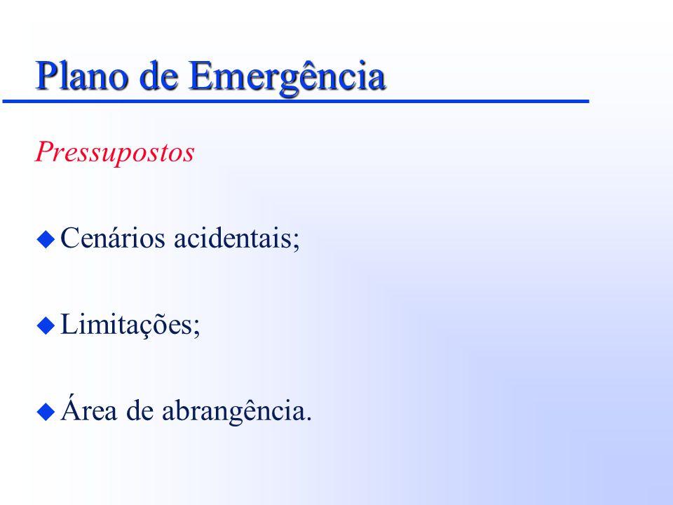 Plano de Emergência Caracterização das Instalações e da Região u Identificação dos cenários acidentais; u Áreas vulneráveis; u Isolamento; u Sinalização; u Pontos de encontro; u Rotas de fuga; u Localização estratégica de recursos.