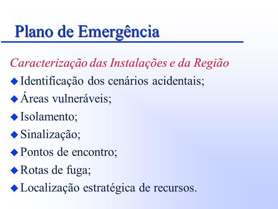 Plano de Emergência Caracterização das Instalações e da Região u Identificação dos cenários acidentais; u Áreas vulneráveis; u Isolamento; u Sinalizaç