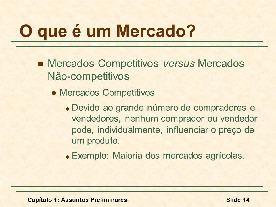 Capítulo 1: Assuntos PreliminaresSlide 14 O que é um Mercado? Mercados Competitivos versus Mercados Não-competitivos Mercados Competitivos Devido ao g