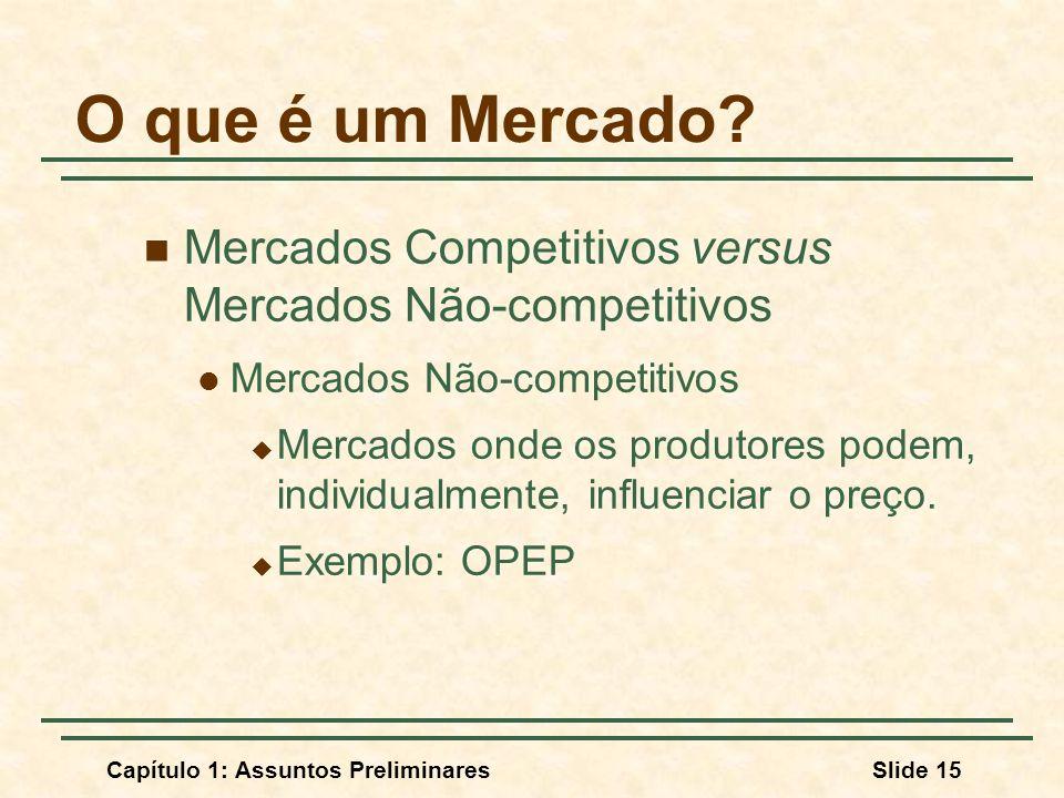 Capítulo 1: Assuntos PreliminaresSlide 15 O que é um Mercado? Mercados Competitivos versus Mercados Não-competitivos Mercados Não-competitivos Mercado
