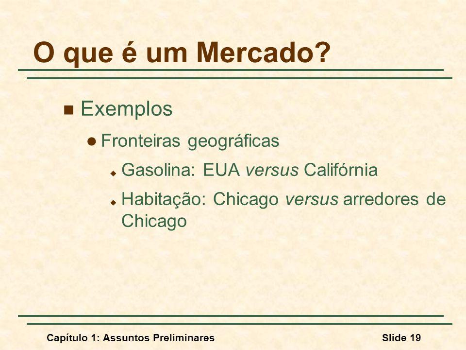 Capítulo 1: Assuntos PreliminaresSlide 19 O que é um Mercado? Exemplos Fronteiras geográficas Gasolina: EUA versus Califórnia Habitação: Chicago versu