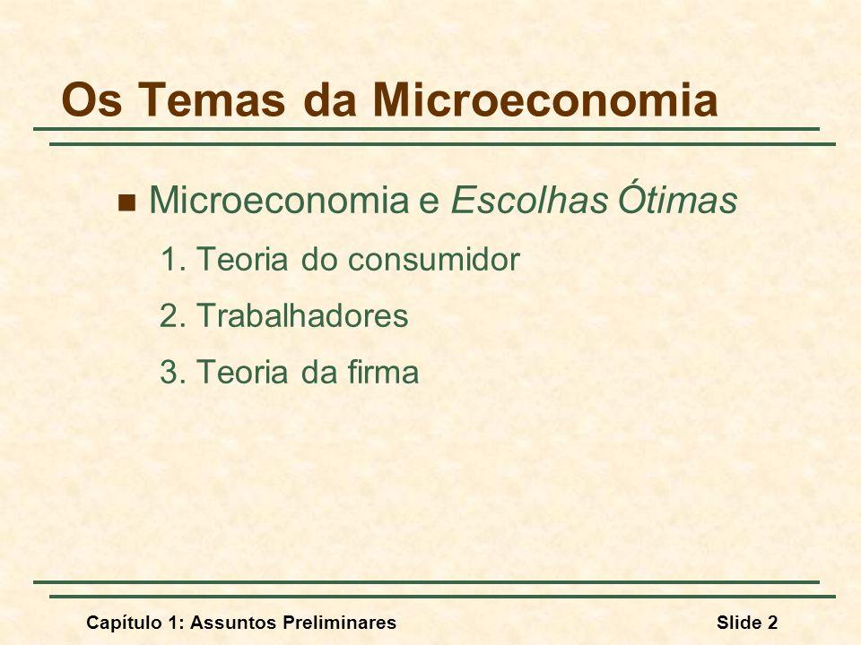Capítulo 1: Assuntos PreliminaresSlide 2 Os Temas da Microeconomia Microeconomia e Escolhas Ótimas 1. Teoria do consumidor 2. Trabalhadores 3. Teoria