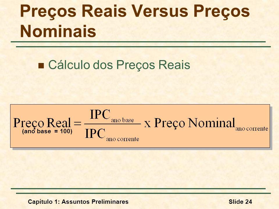 Capítulo 1: Assuntos PreliminaresSlide 24 Preços Reais Versus Preços Nominais Cálculo dos Preços Reais (ano base = 100)