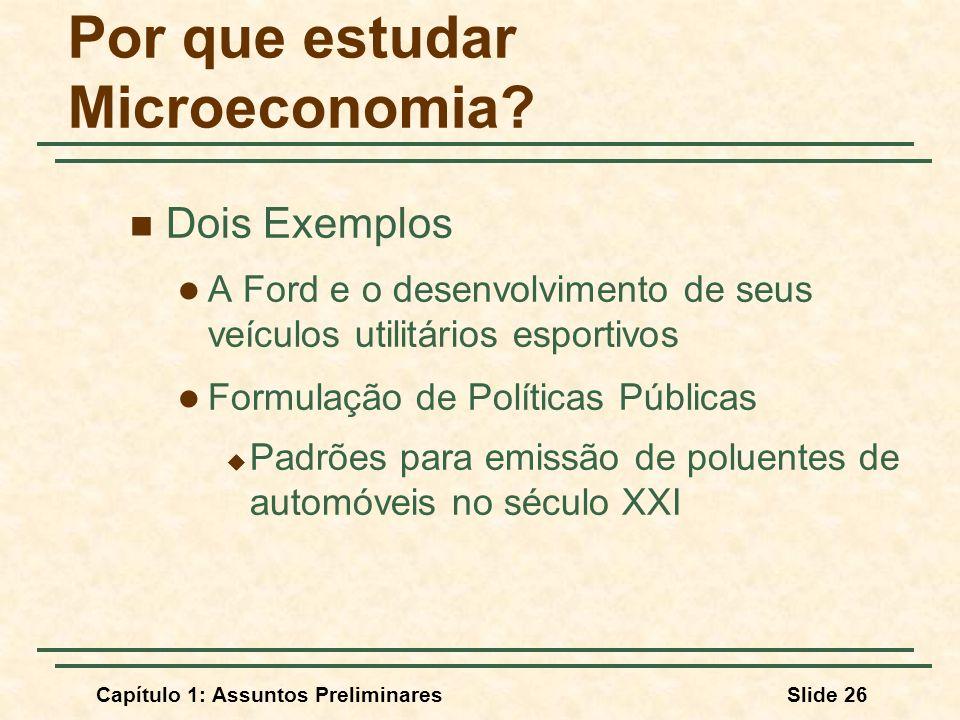 Capítulo 1: Assuntos PreliminaresSlide 26 Por que estudar Microeconomia? Dois Exemplos A Ford e o desenvolvimento de seus veículos utilitários esporti