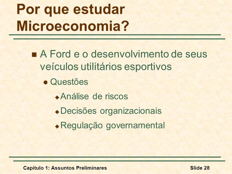 Capítulo 1: Assuntos PreliminaresSlide 28 Por que estudar Microeconomia? A Ford e o desenvolvimento de seus veículos utilitários esportivos Questões A