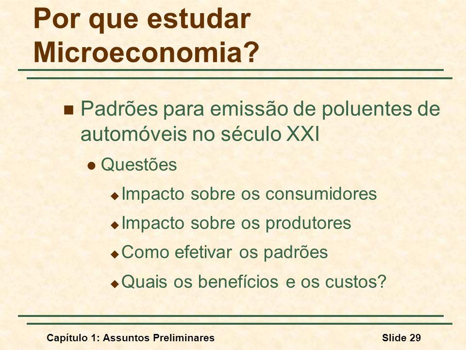 Capítulo 1: Assuntos PreliminaresSlide 29 Por que estudar Microeconomia? Padrões para emissão de poluentes de automóveis no século XXI Questões Impact