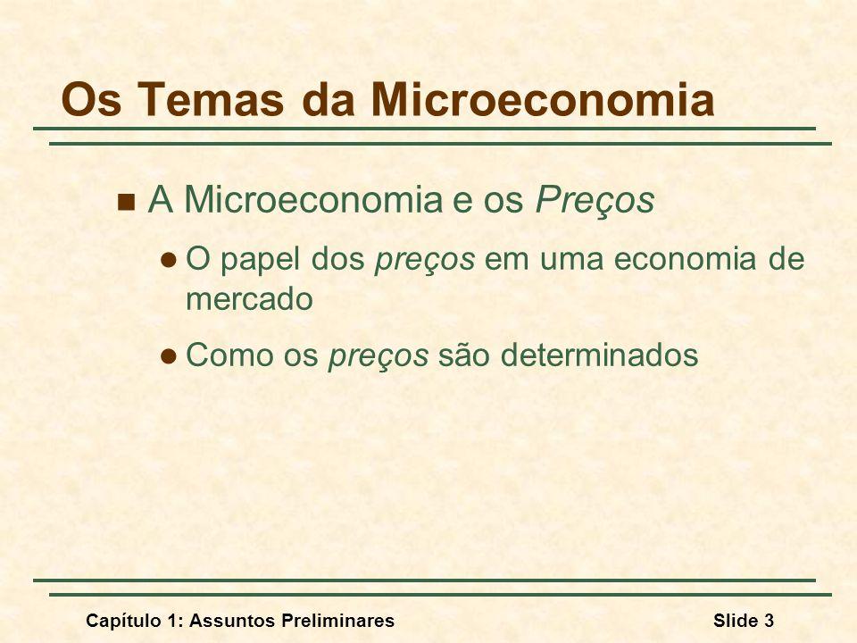 Capítulo 1: Assuntos PreliminaresSlide 3 Os Temas da Microeconomia A Microeconomia e os Preços O papel dos preços em uma economia de mercado Como os p