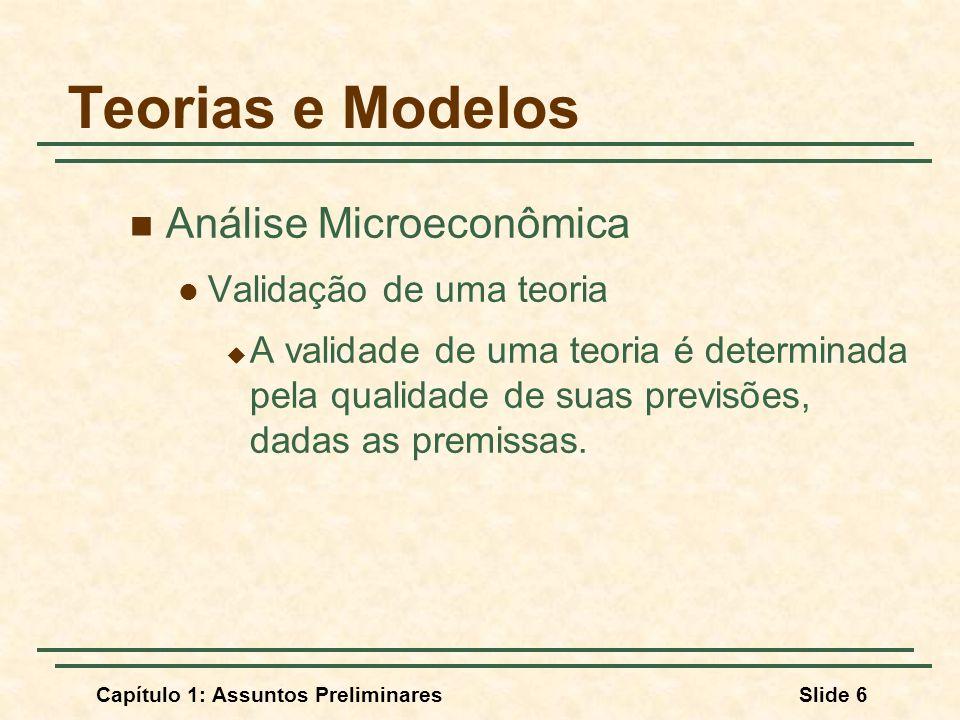 Capítulo 1: Assuntos PreliminaresSlide 6 Teorias e Modelos Análise Microeconômica Validação de uma teoria A validade de uma teoria é determinada pela