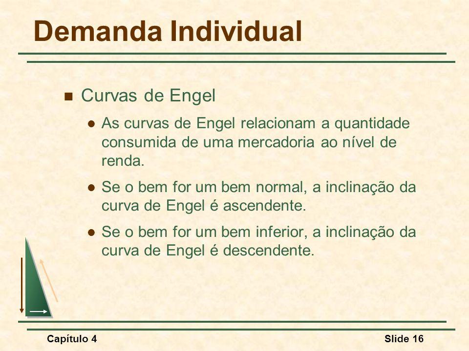 Capítulo 4Slide 16 Demanda Individual Curvas de Engel As curvas de Engel relacionam a quantidade consumida de uma mercadoria ao nível de renda. Se o b
