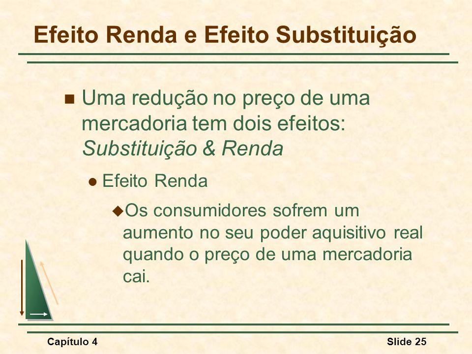 Capítulo 4Slide 25 Efeito Renda e Efeito Substituição Uma redução no preço de uma mercadoria tem dois efeitos: Substituição & Renda Efeito Renda Os co