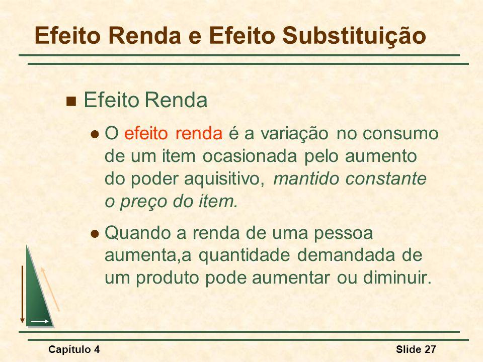 Capítulo 4Slide 27 Efeito Renda e Efeito Substituição Efeito Renda O efeito renda é a variação no consumo de um item ocasionada pelo aumento do poder