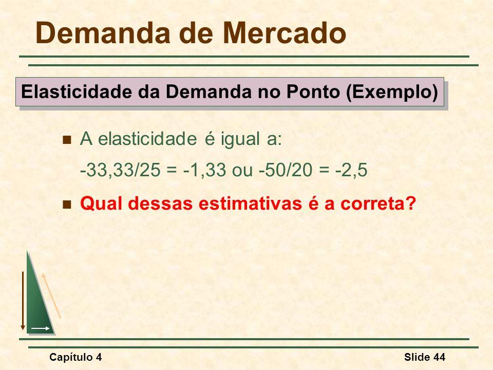 Capítulo 4Slide 44 Demanda de Mercado A elasticidade é igual a: -33,33/25 = -1,33 ou -50/20 = -2,5 Qual dessas estimativas é a correta? Elasticidade d