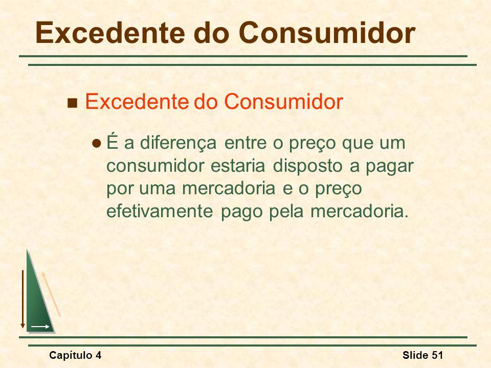 Capítulo 4Slide 51 Excedente do Consumidor É a diferença entre o preço que um consumidor estaria disposto a pagar por uma mercadoria e o preço efetiva