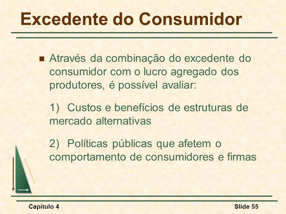 Capítulo 4Slide 55 Excedente do Consumidor Através da combinação do excedente do consumidor com o lucro agregado dos produtores, é possível avaliar: 1