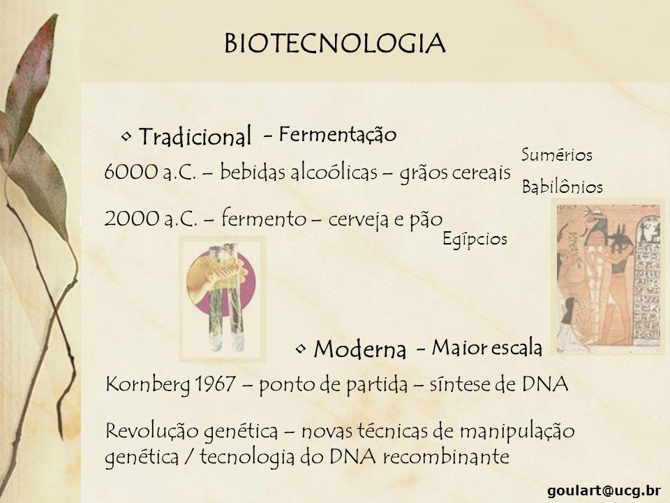 BIOTECNOLOGIA goulart@ucg.br Tradicional - Fermentação 6000 a.C. – bebidas alcoólicas – grãos cereais Sumérios Babilônios 2000 a.C. – fermento – cerve