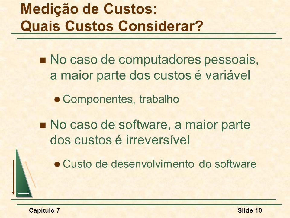 Capítulo 7Slide 10 No caso de computadores pessoais, a maior parte dos custos é variável Componentes, trabalho No caso de software, a maior parte dos custos é irreversível Custo de desenvolvimento do software Medição de Custos: Quais Custos Considerar?
