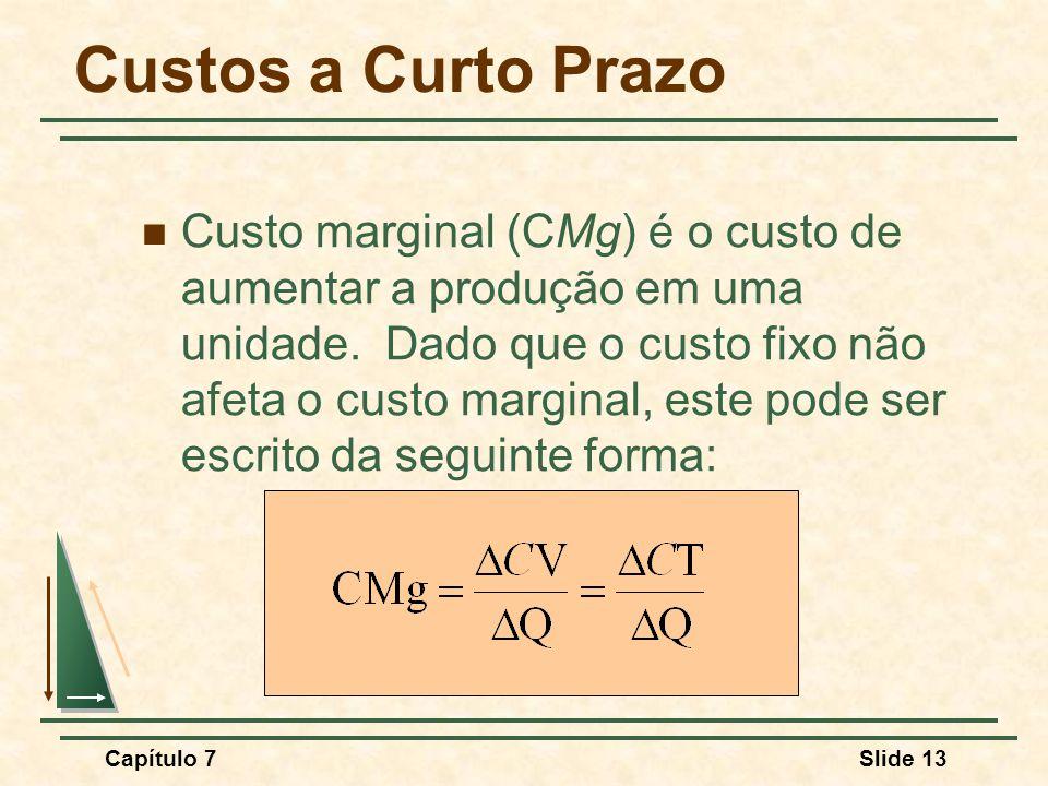 Capítulo 7Slide 13 Custos a Curto Prazo Custo marginal (CMg) é o custo de aumentar a produção em uma unidade.