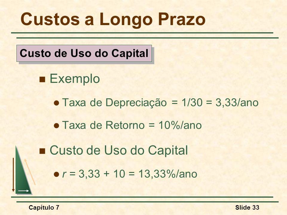 Capítulo 7Slide 33 Custos a Longo Prazo Exemplo Taxa de Depreciação = 1/30 = 3,33/ano Taxa de Retorno = 10%/ano Custo de Uso do Capital r = 3,33 + 10 = 13,33%/ano Custo de Uso do Capital