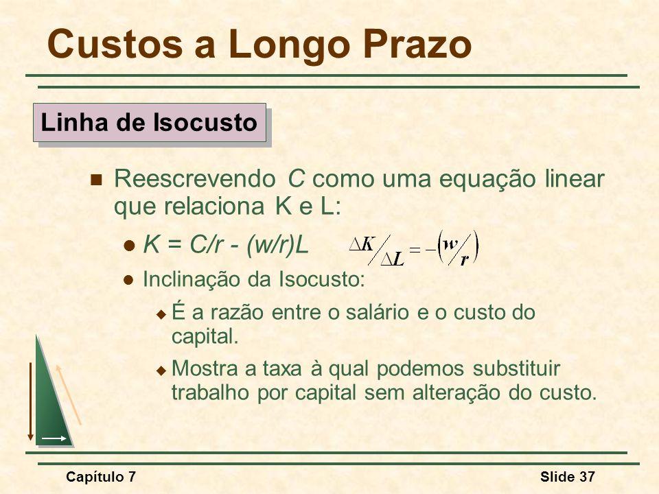 Capítulo 7Slide 37 Custos a Longo Prazo Reescrevendo C como uma equação linear que relaciona K e L: K = C/r - (w/r)L Inclinação da Isocusto: É a razão entre o salário e o custo do capital.