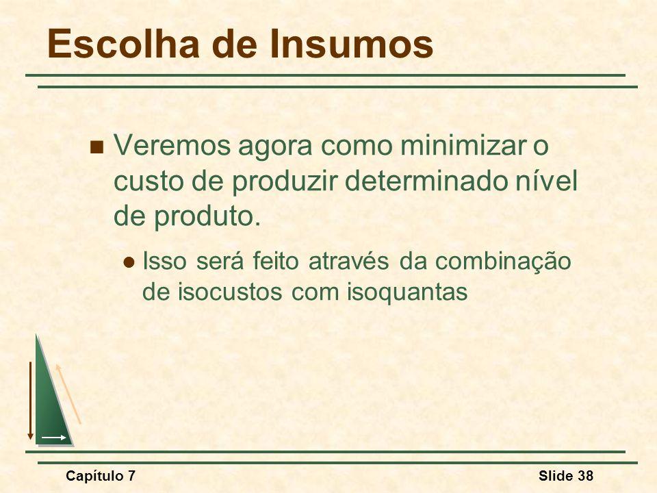 Capítulo 7Slide 38 Escolha de Insumos Veremos agora como minimizar o custo de produzir determinado nível de produto.