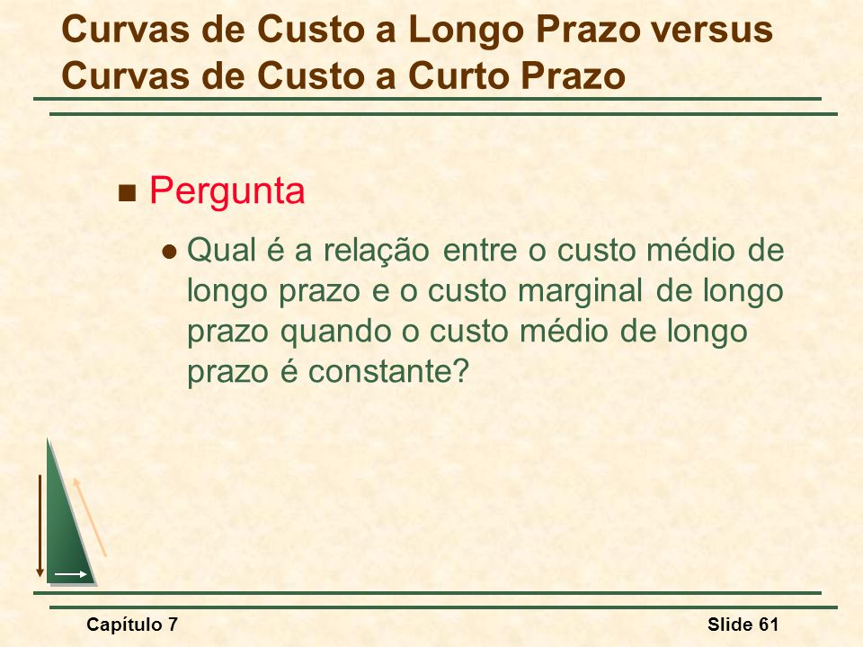 Capítulo 7Slide 61 Pergunta Qual é a relação entre o custo médio de longo prazo e o custo marginal de longo prazo quando o custo médio de longo prazo é constante.