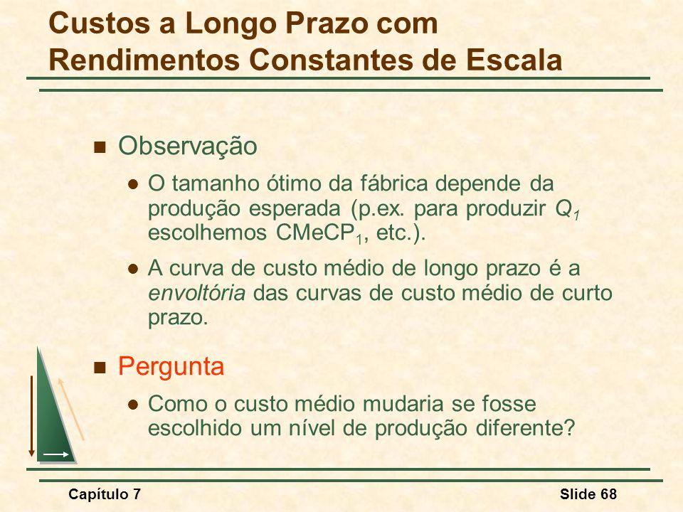 Capítulo 7Slide 68 Observação O tamanho ótimo da fábrica depende da produção esperada (p.ex.