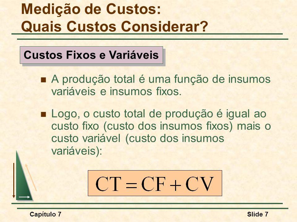 Capítulo 7Slide 8 Custo Fixo Não depende do nível de produção Custo Variável Depende do nível de produção Medição de Custos: Quais Custos Considerar.