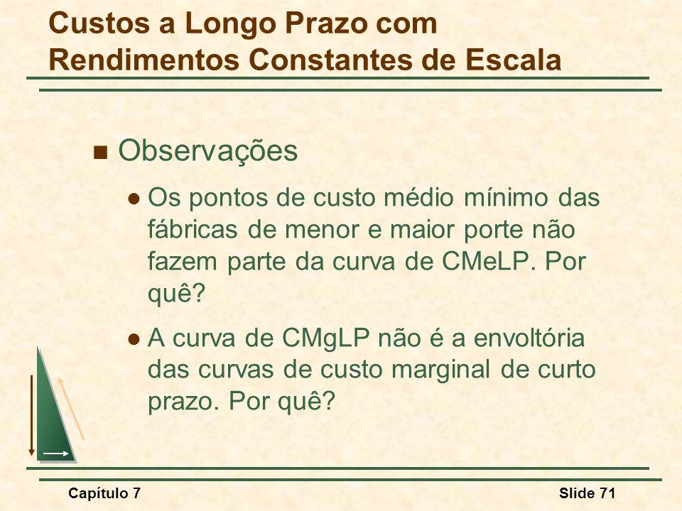 Capítulo 7Slide 71 Observações Os pontos de custo médio mínimo das fábricas de menor e maior porte não fazem parte da curva de CMeLP.