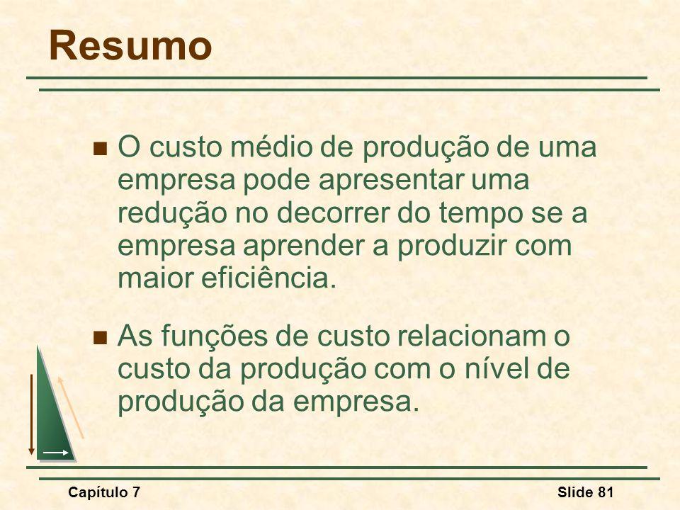 Capítulo 7Slide 81 Resumo O custo médio de produção de uma empresa pode apresentar uma redução no decorrer do tempo se a empresa aprender a produzir com maior eficiência.