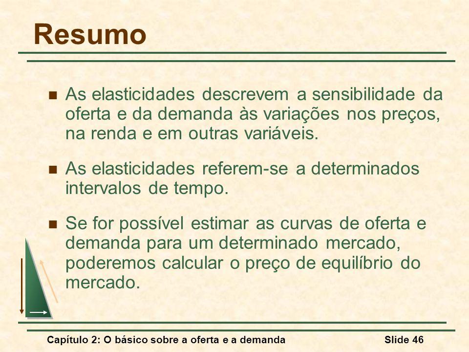 Capítulo 2: O básico sobre a oferta e a demandaSlide 46 Resumo As elasticidades descrevem a sensibilidade da oferta e da demanda às variações nos preços, na renda e em outras variáveis.