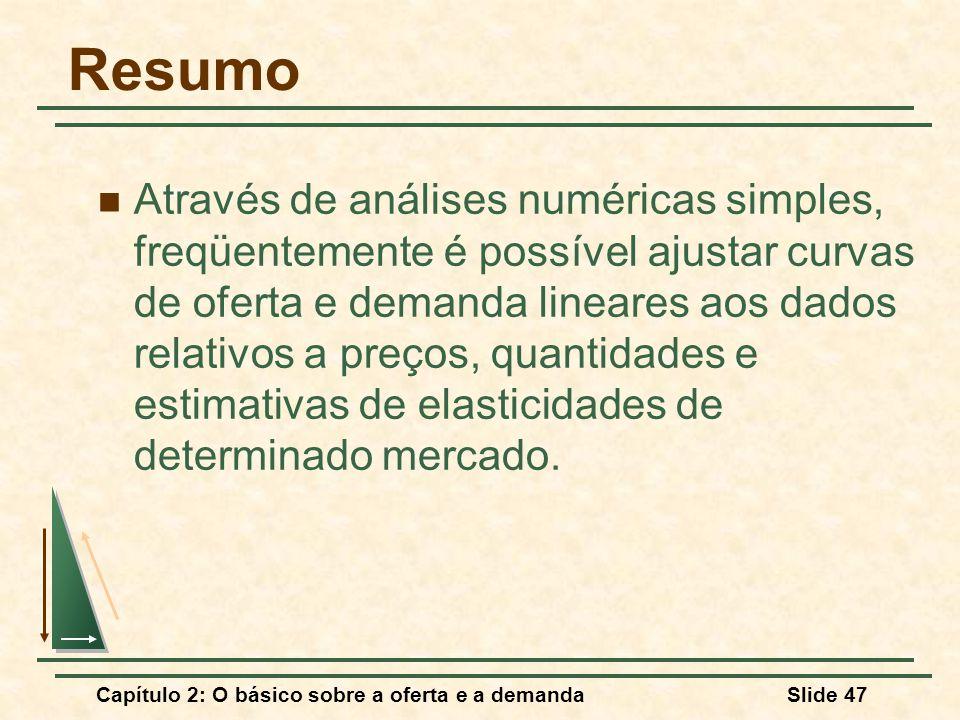 Capítulo 2: O básico sobre a oferta e a demandaSlide 47 Resumo Através de análises numéricas simples, freqüentemente é possível ajustar curvas de oferta e demanda lineares aos dados relativos a preços, quantidades e estimativas de elasticidades de determinado mercado.