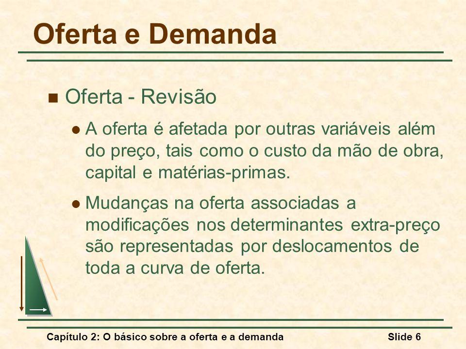 Capítulo 2: O básico sobre a oferta e a demandaSlide 7 Oferta e Demanda Oferta - Revisão Mudanças na quantidade ofertada causadas por alterações no preço do produto são representadas por movimentos ao longo da curva de oferta.