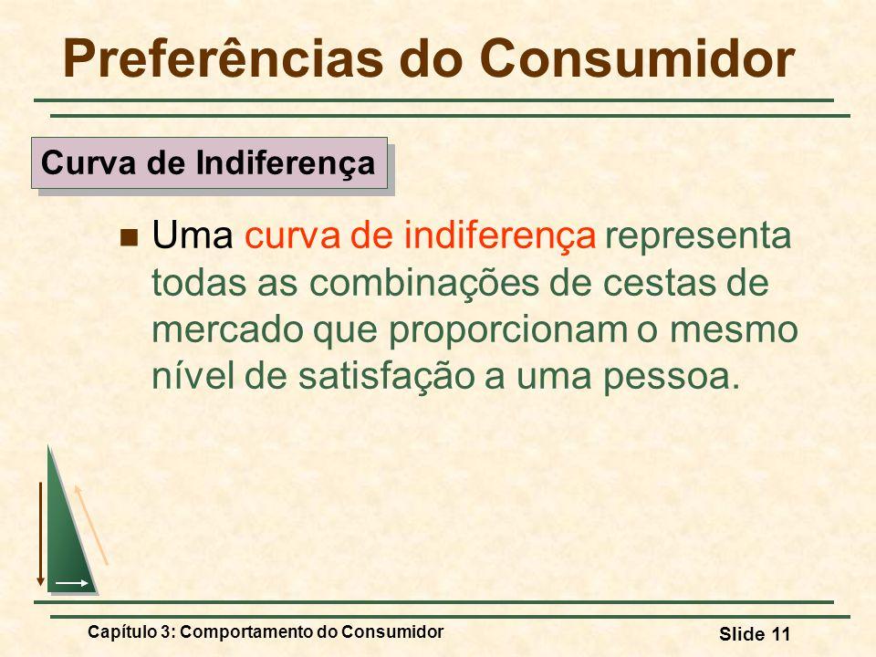 Capítulo 3: Comportamento do Consumidor Slide 11 Preferências do Consumidor Uma curva de indiferença representa todas as combinações de cestas de merc