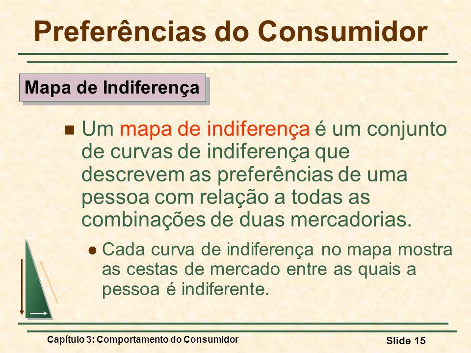 Capítulo 3: Comportamento do Consumidor Slide 15 Preferências do Consumidor Um mapa de indiferença é um conjunto de curvas de indiferença que descreve