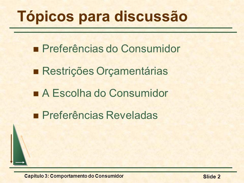 Capítulo 3: Comportamento do Consumidor Slide 2 Tópicos para discussão Preferências do Consumidor Restrições Orçamentárias A Escolha do Consumidor Pre