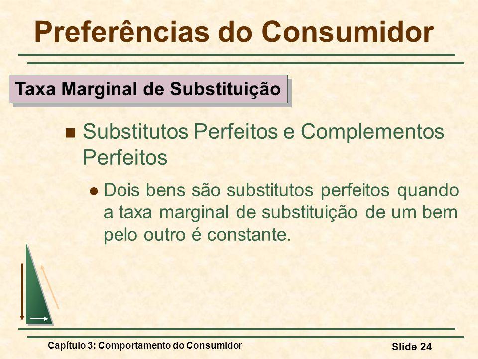 Capítulo 3: Comportamento do Consumidor Slide 24 Preferências do Consumidor Substitutos Perfeitos e Complementos Perfeitos Dois bens são substitutos p