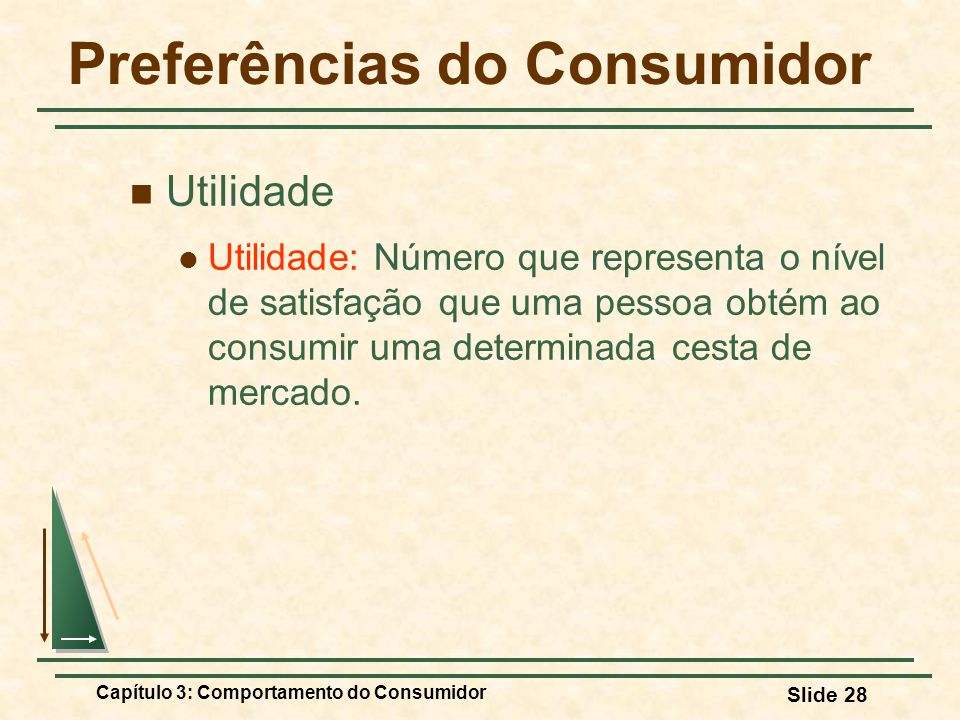 Capítulo 3: Comportamento do Consumidor Slide 28 Preferências do Consumidor Utilidade Utilidade: Número que representa o nível de satisfação que uma p