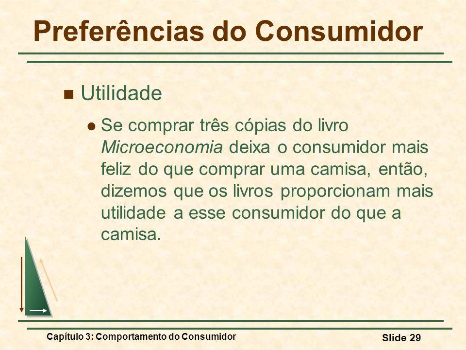 Capítulo 3: Comportamento do Consumidor Slide 29 Preferências do Consumidor Utilidade Se comprar três cópias do livro Microeconomia deixa o consumidor