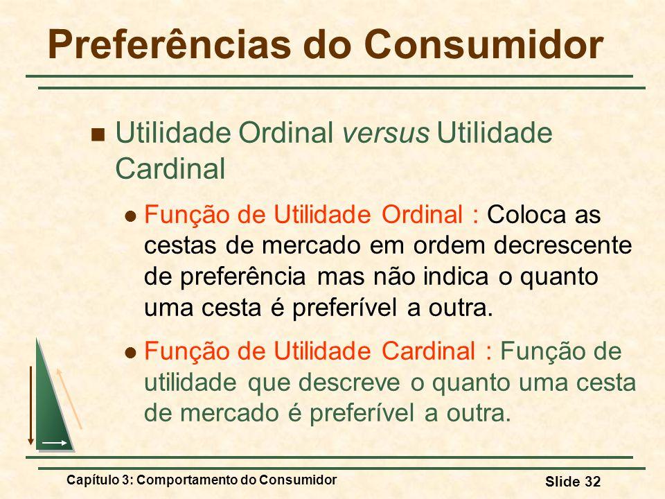 Capítulo 3: Comportamento do Consumidor Slide 32 Preferências do Consumidor Utilidade Ordinal versus Utilidade Cardinal Função de Utilidade Ordinal :