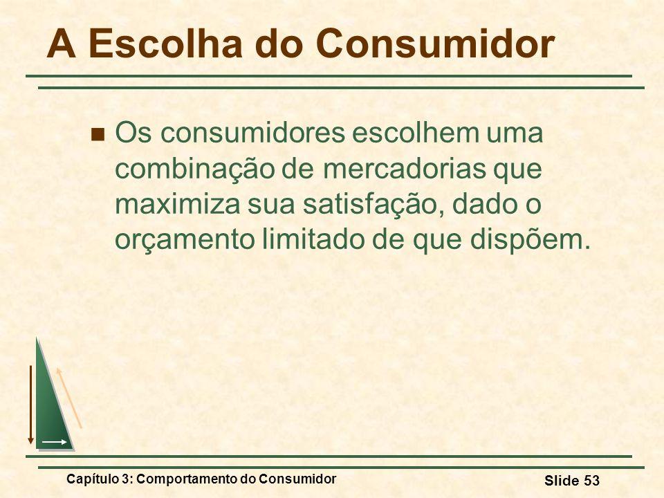 Capítulo 3: Comportamento do Consumidor Slide 53 A Escolha do Consumidor Os consumidores escolhem uma combinação de mercadorias que maximiza sua satis