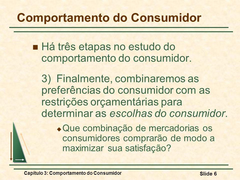 Capítulo 3: Comportamento do Consumidor Slide 6 Comportamento do Consumidor Há três etapas no estudo do comportamento do consumidor. 3) Finalmente, co